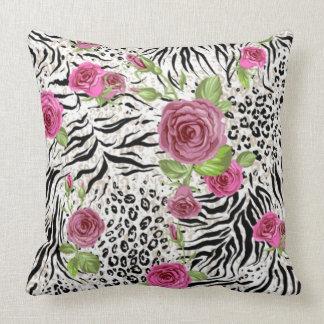 Animal Skin Print And Roses Cushion
