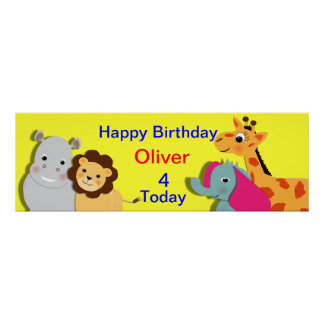 Animal Theme Happy Birthday Personalized Banner Poster