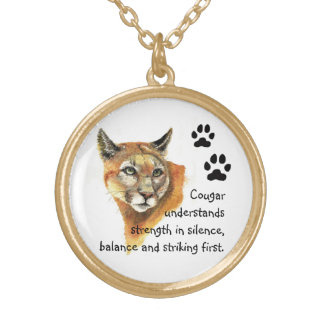 Animal Totems,Cougar  Encouragment and Inspiration Round Pendant Necklace