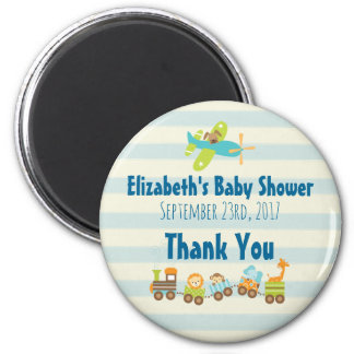 Animal Toy Train and Airplane Baby Shower Thanks Magnet