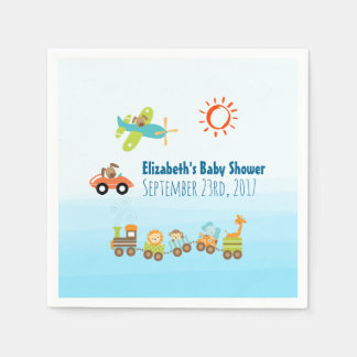 Animal Toy Train and Airplane Boy Baby Shower Paper Napkin