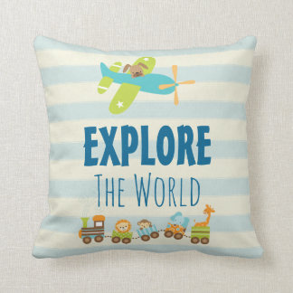Animal Toy Train and Airplane Explore The World Throw Pillow