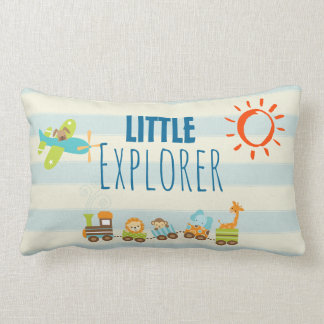 Animal Toy Train and Airplane on Stripes Lumbar Pillow