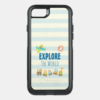 Animal Toy Train and Airplane on Stripes OtterBox Commuter iPhone 8/7 Case