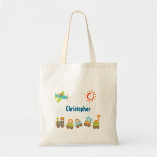 Animal Toy Train and Airplane Personalized Tote Bag