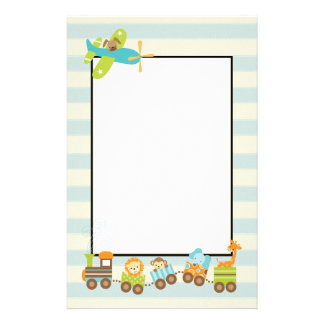 Animal Toy Train and Doggy Airplane on Stripes Stationery