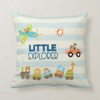 Animal Toy Train Car and Airplane Little Explorer Throw Pillow