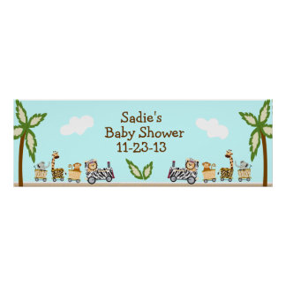 Animal Train Baby Shower Banner Poster