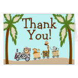 Animal Train Baby Shower Thank You Notecard