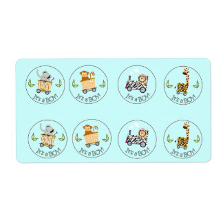 Animal Train Chocolate Kiss Favor Stickers Shipping Label