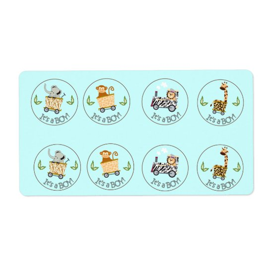 Animal Train Chocolate Kiss Favour Stickers