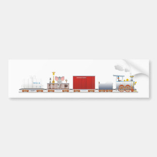 Animal Train Long Bumper Sticker