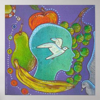 Animal Vegan freedom fruits Poster