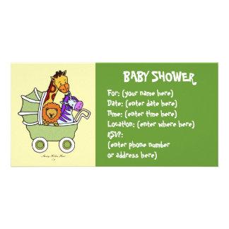 Animal Walk 5 Baby Shower Photo Card Template