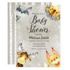 Animal Winter Woodland Baby Shower Invitations