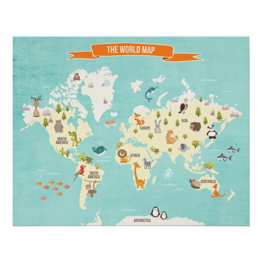 Animal world poster world map wall decal kids zazzle animal world poster world map wall decal kids gumiabroncs Image collections