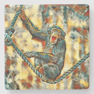 AnimalArt_Chimpanzee_20170901_by_JAMColors Stone Coaster