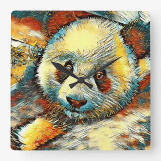 AnimalArt_Panda_20170601_by_JAMColors Square Wall Clock