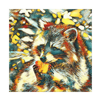 AnimalArt_Raccoon_20170601_by_JAMColors Canvas Print
