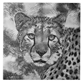 AnimalArtBW_Cheetah_20170604_by_JAMColors Ceramic Tile