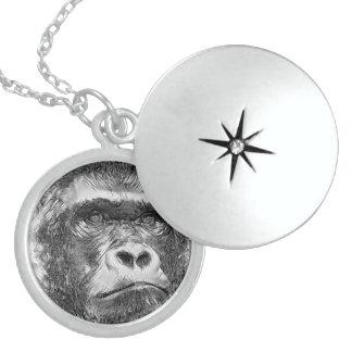 AnimalArtBW_Gorilla_20170602_by_JAMColors Locket Necklace