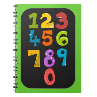 animals-40904 animals school NUMBERS COLORFUL educ Spiral Notebook