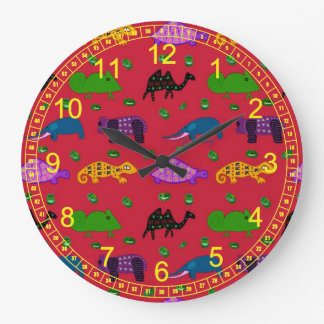 Animals - Abstract Purple Turtles & Blue Elephants Clocks