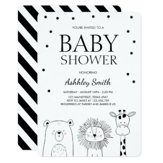 Animals Baby shower invite Zoo Safari Black Modern