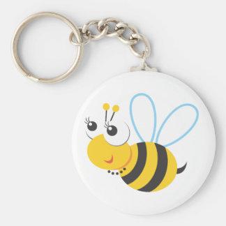 Animals - Bee Basic Round Button Key Ring