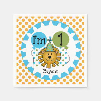 Animals Circus Lion 1st Birthday Paper Napkins