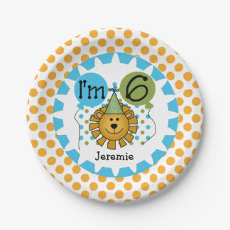 Animals Circus Lion 6th Birthday Paper Plates 7 Inch Paper Plate
