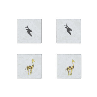Animals: Deer and Giraffe Marble Stone Magnets Set