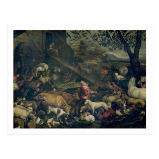Animals Entering the Ark (oil on canvas) Postcard