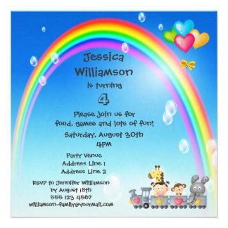 Animals, Girl, Train & Rainbow Birthday Party Custom Invitation