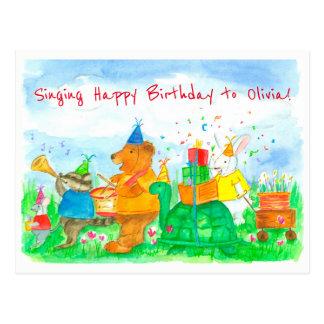 Animals Happy Birthday Custom Name Kids Postcard