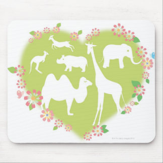 Animals in a Heart Shape Mouse Pad