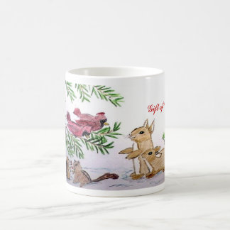 animals in snow christmas coffee mug