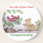 animals in snow, The Gift of Each Other, Compan... Drink Coaster