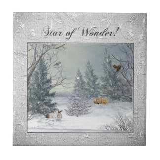 Animals in the Winter Forest, Tree with Star, Star Ceramic Tile
