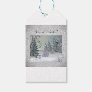 Animals in the Winter Forest, Tree with Star, Star Gift Tags