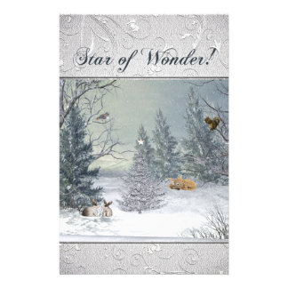 Animals in the Winter Forest, Tree with Star, Star Stationery