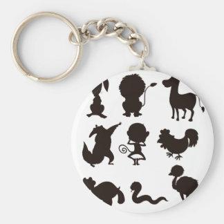 Animals Basic Round Button Key Ring