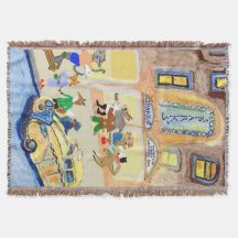 Animals Night Out Throw Blanket