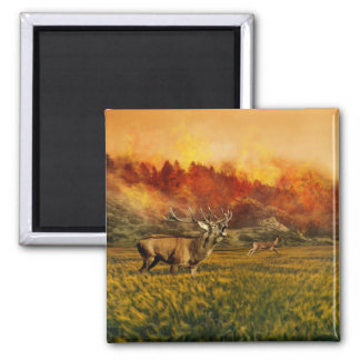 Animals Running away from Fire Illustration Square Magnet