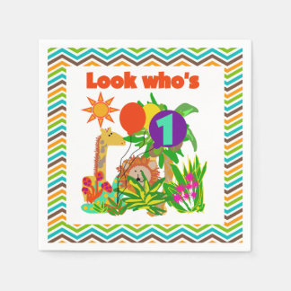 Animals Safari 1st Birthday Paper Napkins
