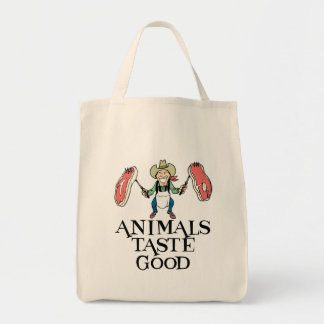 Animals Taste Good Grocery Tote Bag