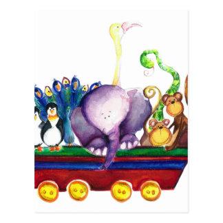 Animals wagon postcard