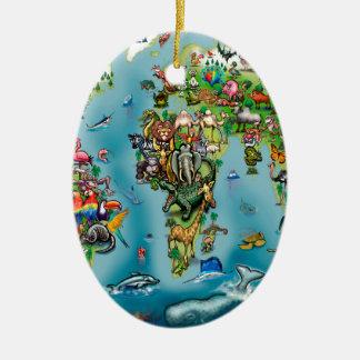 Animals World Map Ceramic Ornament