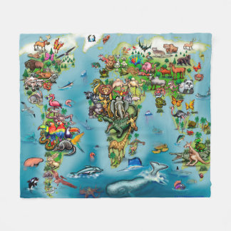 World map blankets bed blankets zazzle animals world map fleece blanket gumiabroncs Image collections