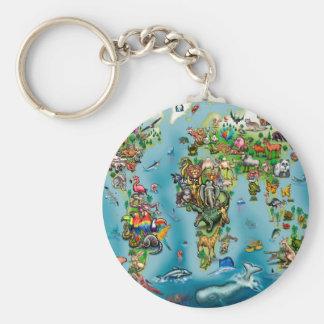 Animals World Map Key Ring